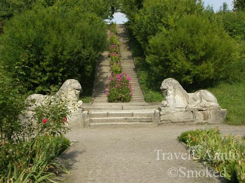 Олесько, Львовская область, парк, львы, скульптуры, лестница