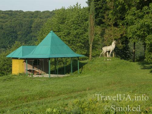 Плиснецк, Подгорцы, монастырь, статуя оленя