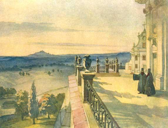 Почаев, Лавра, монастырь, терраса, картина Шевченко