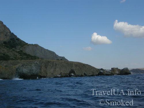 Коктебель, Карадаг, пейзаж, природа, берег, скала-лягушка