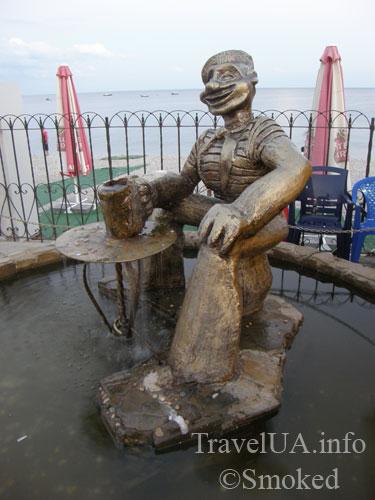 Набережная, статуя, памятник, моряк Папай, Коктебель